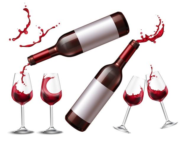 Conjunto realista con botella de vino tinto y cuatro vasos llenos de bebida.