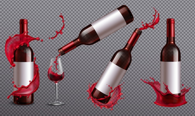 Conjunto realista con botella de vino tinto y vaso lleno de bebida