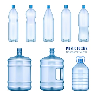 Conjunto realista de botellas de agua de plástico