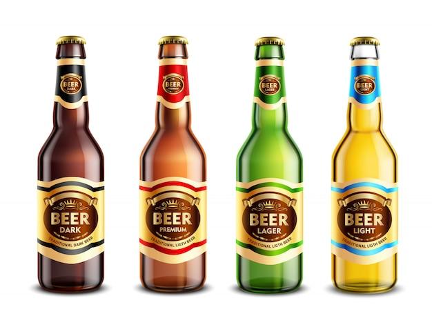 Conjunto realista de botellas de cerveza de vidrio