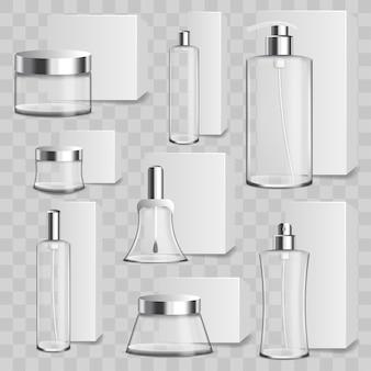 Conjunto realista de botellas de cosméticos de vidrio.