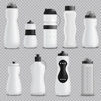 Conjunto realista de botellas de fitness transparente