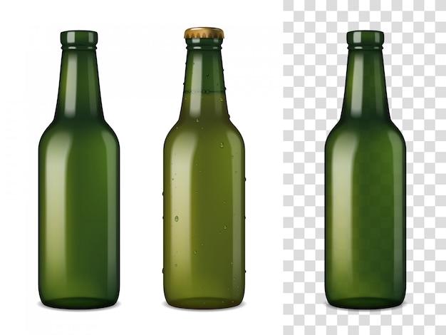 Conjunto realista de botellas de vidrio de cerveza