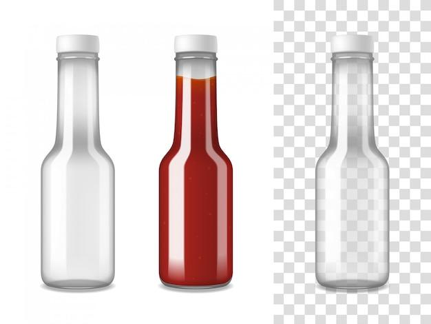 Conjunto realista de botellas de vidrio de salsa de tomate