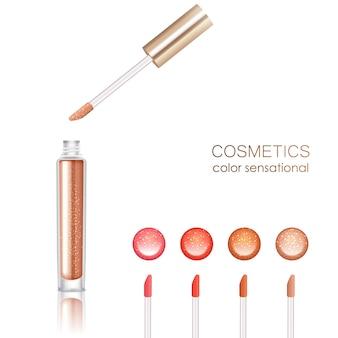 Conjunto realista de brillo de labios con símbolos cosméticos aislados ilustración vectorial
