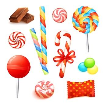 Conjunto realista de caramelo