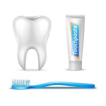 Conjunto realista de cepillo de dientes y pasta de dientes humanos
