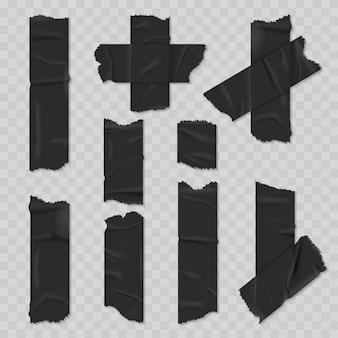 Conjunto realista de cinta adhesiva de conducto negro