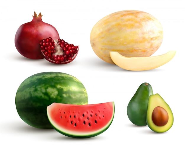 Conjunto realista de coloridas frutas enteras y cortadas con melón de granada, sandía y aguacate aislado en blanco