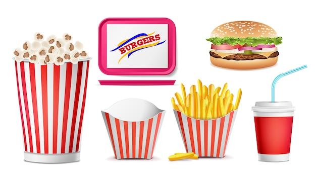 Conjunto realista de comida rápida