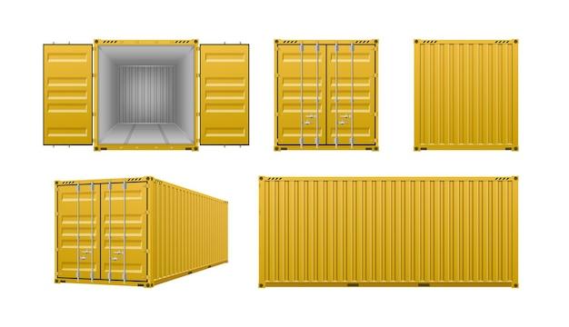 Conjunto realista de contenedores de carga amarillos.