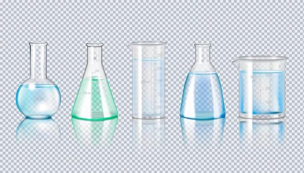 Conjunto realista de cristalería de laboratorio de matraces ilustración