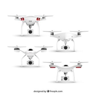 Conjunto realista de cuatro drones