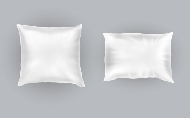 Conjunto realista de dos almohadas blancas, cuadradas y rectangulares, suaves y limpias