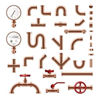 Conjunto realista de detalles de tubería de cobre aislado en la ilustración de fondo blanco