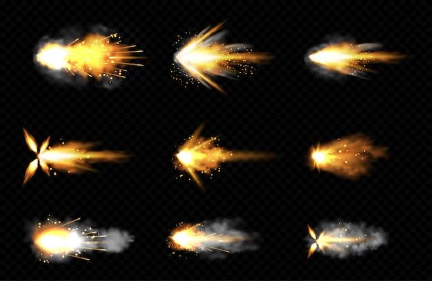 Conjunto realista de disparos con fuego y humo.