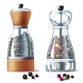 Conjunto realista de dos molinos de pimienta, recipientes de vidrio llenos de diferentes granos de pimienta
