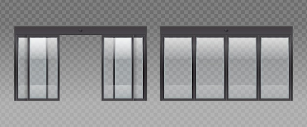 Conjunto realista de entrada de puerta de vidrio con fondo transparente e imágenes de puertas de vidrio