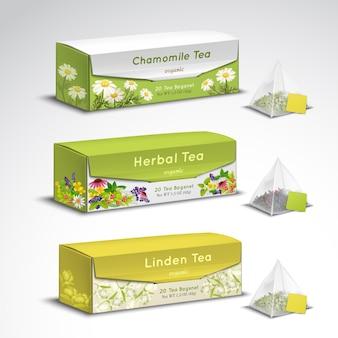 Conjunto realista de envases de bolsas de té