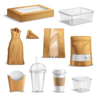Conjunto realista de envases de comida rápida para llevar