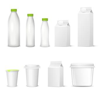 Conjunto realista de envases lácteos