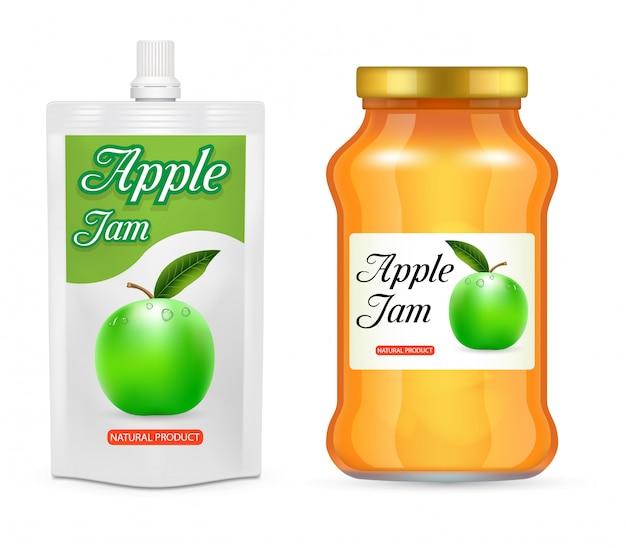 Conjunto realista de envases de mermelada de manzana
