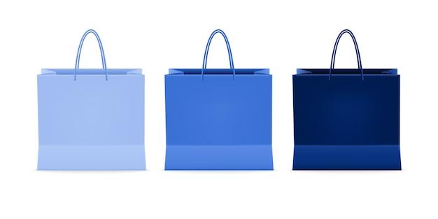 Conjunto realista de envases de papel para bolsas de compras, para compras de productos y compras de transporte de productos desde la tienda o supermercado.