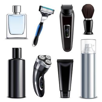 Conjunto realista de equipos de afeitado