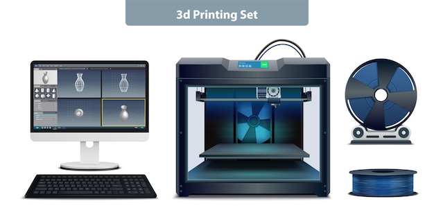 Conjunto realista de equipos necesarios para la ilustración de vector aislado de impresión 3d