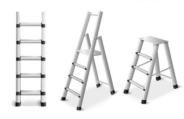 Conjunto realista de escaleras de metal