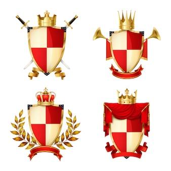 Conjunto realista de escudos heráldicos con cintas y coronas aisladas.