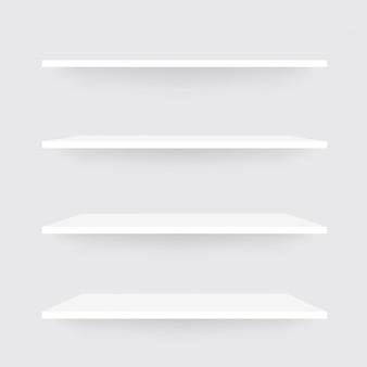 Conjunto realista de estantes. maqueta de estante blanco con sombra
