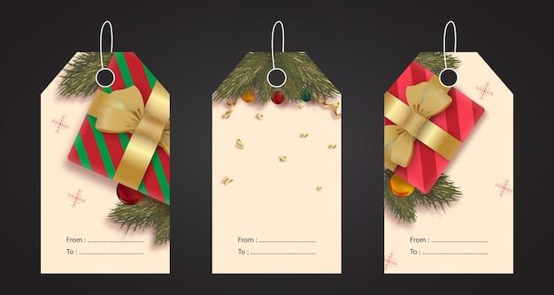 Conjunto realista de etiquetas navideñas.
