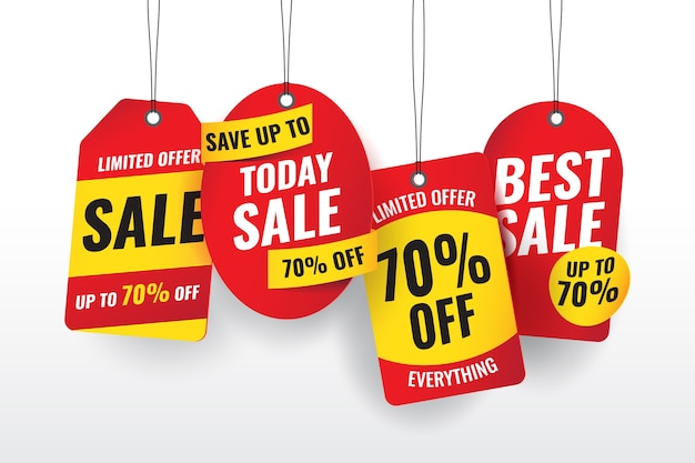 Conjunto realista de etiquetas de ventas colgantes