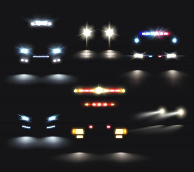 Conjunto realista de faros de coches