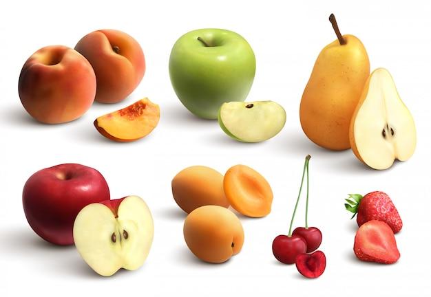 Conjunto realista de frutas cortadas