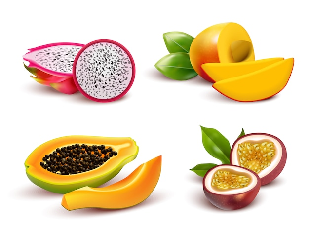 Conjunto realista de frutas tropicales