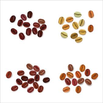 Conjunto realista de granos de café que muestra varias etapas de tostado aisladas en la ilustración de fondo blanco