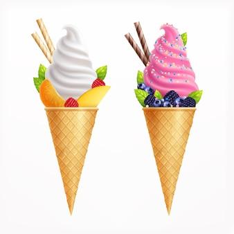 Conjunto realista de helado de dos conos de waffle de sabor a vainilla y frutas decorados con fresas, arándanos, moras, rodajas de naranja, ilustración