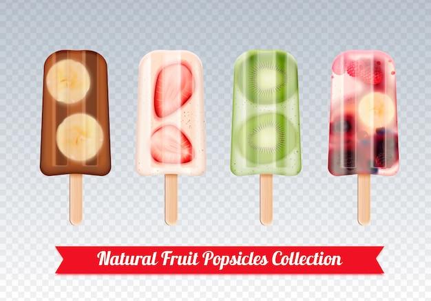 Conjunto realista de helado de paletas de fruta de imágenes de confección de palo de helado de fruta congelada en transparente