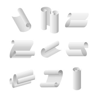 Conjunto realista de hojas de papel curvo blanco realista de desplazamiento y rollo