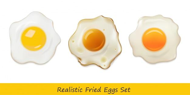 Conjunto realista de huevos fritos