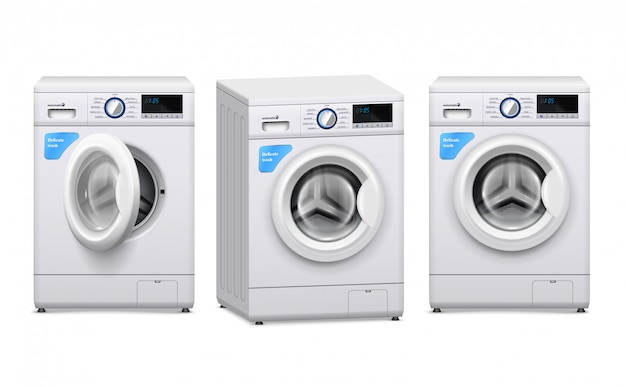 Conjunto realista de lavadora
