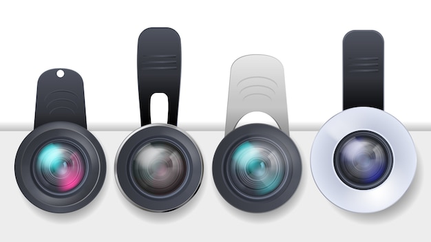Conjunto realista de lentes de clip para dispositivos móviles, teléfonos inteligentes y tabletas