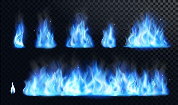 Conjunto realista de llama de fuego azul