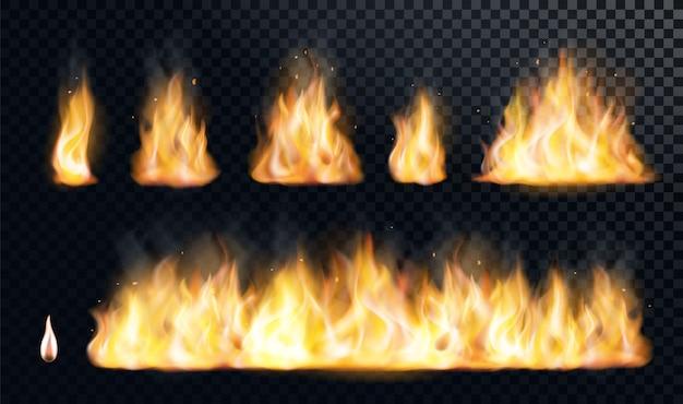 Conjunto realista de llama de fuego flare hoguera brillante ilustración de elementos ardientes pequeños y grandes