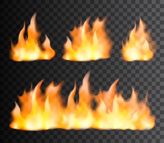 Conjunto realista de llama de fuego