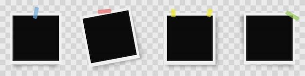 Conjunto realista de marcos de fotos. marcos de fotos con sombra sobre fondo transparente