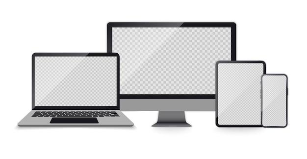 Conjunto realista de monitor de computadora, computadora portátil, tableta, teléfono inteligente de color gris oscuro. conjunto realista de dispositivos con pantallas vacías. accesorios electrónicos
