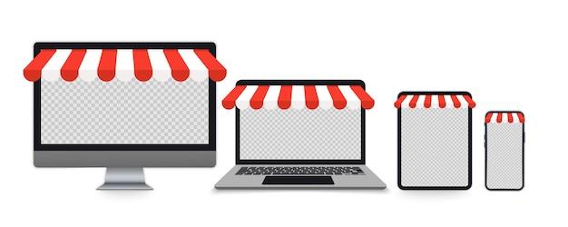 Conjunto realista de monitor, computadora portátil, tableta, teléfono inteligente con toldo para diseño web, aplicación, página de destino